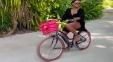 Actress Goes Cycling In Black Bikini