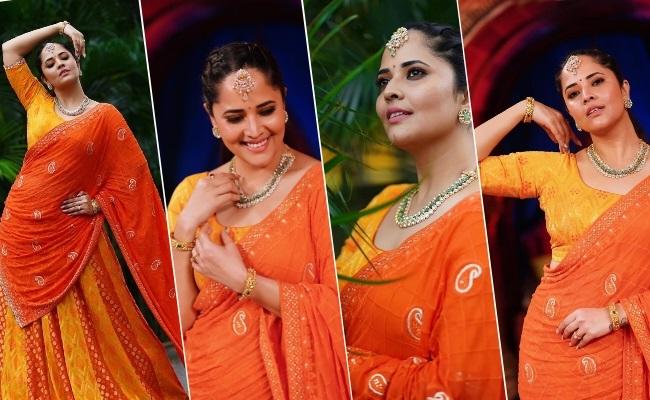 Pics: Tall Lady Lures In Saffron Saree