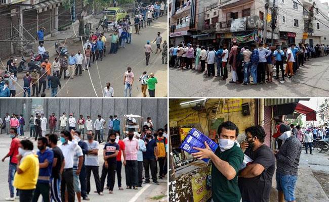 Long queues, chaos at liquor shops in Andhra
