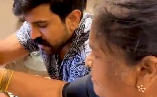 Ram Charan Takes Cooking Tips from Grandmom