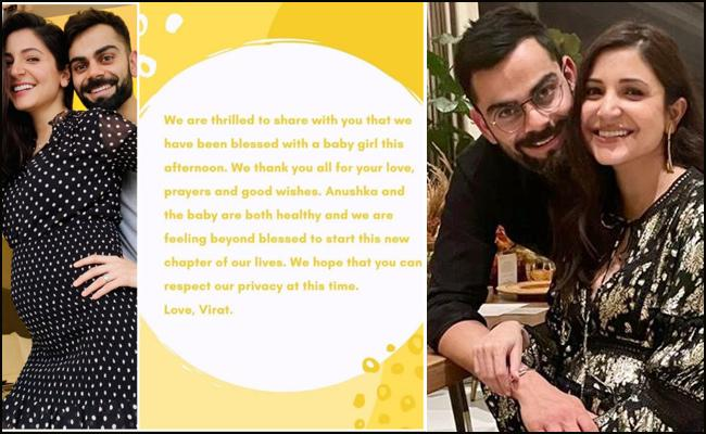 Virat, Anushka blessed with a baby girl
