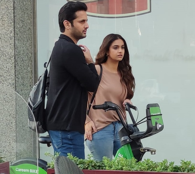 Leaked Pic: Nithiin and Keerthy on the streets of Dubai