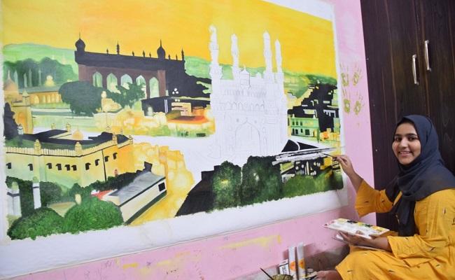Hyd girl's paintings adorn walls of London restaurant