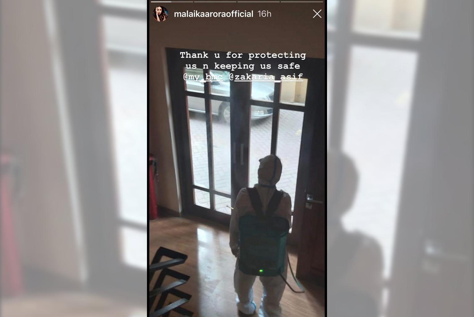 Actress Glimpse Of Her Building Being Sanitised