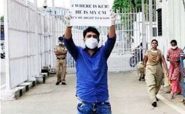 Where is KCR, reads placard as youth protests at CM's house