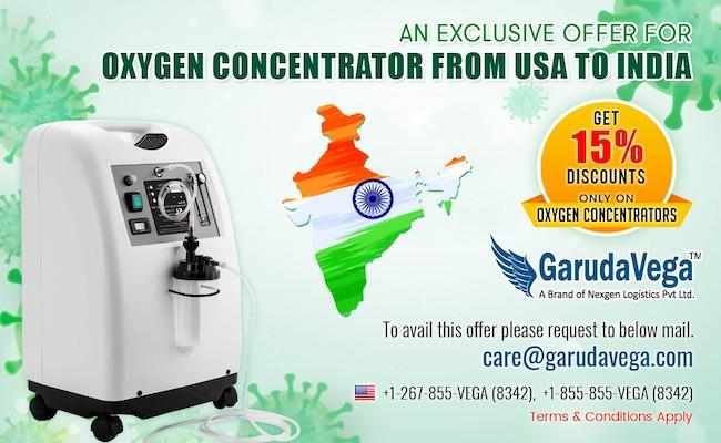 Garudavega Ships Oxygen Concentrators to India