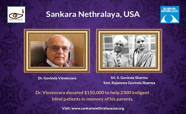 Dr Govinda Visvesvara's $150,000 donation to Sankara N