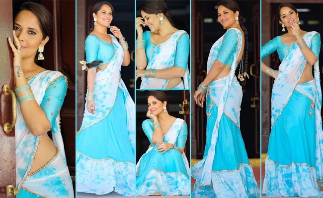 Pics: Beauty In Blue And White Half Saree