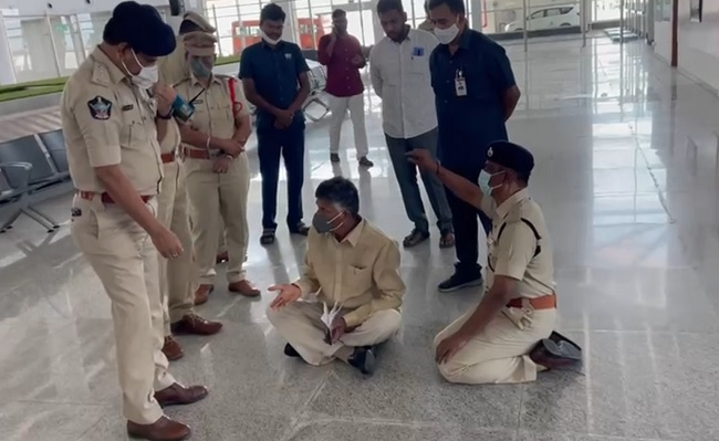 High drama at Tirupati airport as Naidu stages sit-in