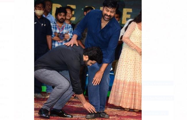 Pic Talk: Sharwa Touches Chiru's Feet