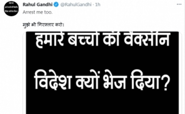 Arrest me too, Rahul tweets poster criticising Modi