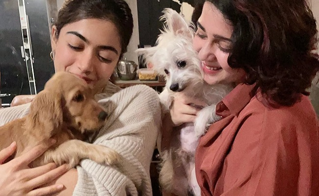 Rashmika and Charmee Pose With Their Adorable Pets